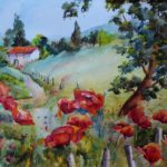 Watercolor Painting Poppies