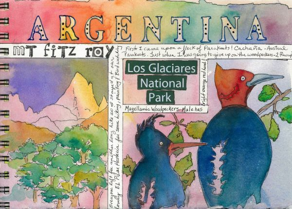 Colorful painting from my watercolor art journal trip to Argentina