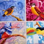 Watercolor painting of colorful birds