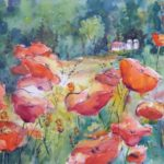 Artist Jacqueline Newbold, Red poppies, watercolor painting, loose colorful painting